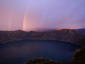 Sunset at Quilotoa crater lake