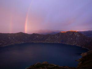Sunset at Quilotoa crater lake