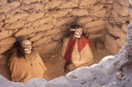 The mummies are all in a kneeing position. The bones whitened from the sun.