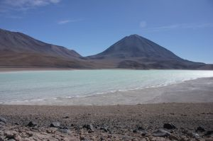 The Laguna Verde. The strong and cold wind stirred up the colourful lagoon.