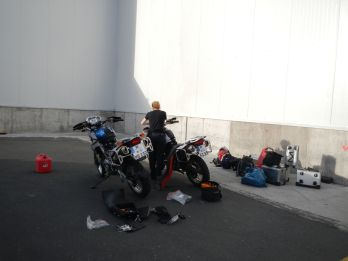 Excitement. Picking up the bikes at the airport in Quito, Ecuador.