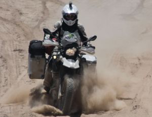 Christy in action on the G650GS.