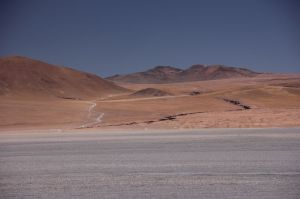Leaving the Laguna Colorada up the mountain.
