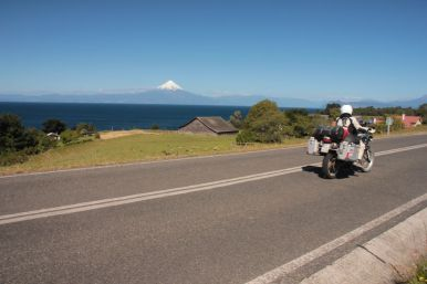 Great riding in the sun along the lakes on our way to Puerto Varas.