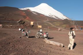 We rode up to the volcano. There is a skiing area there and it is pretty busy in winter times.