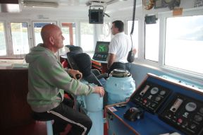 We were asked to join the captain and his pilot on the bridge. That was very nice and interesting.