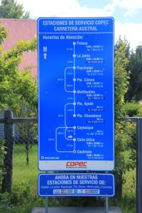 There are plenty of gas stations on the Carretera Austral, here is an overview of the Copec ones.