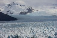 This glacier is formed in the huge southern patagonian ice field, calving into a lake.