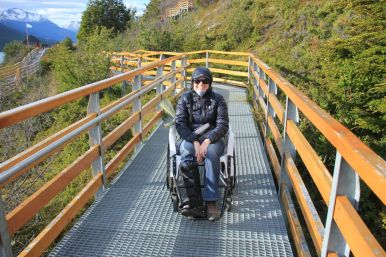 The ramps were pretty uncomfortable to walk with crutches, so we organised a wheelchair for Christy.