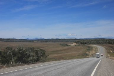 As it goes closer to the Ushuaia it gets a little bit more hilly. And trees reappear....
