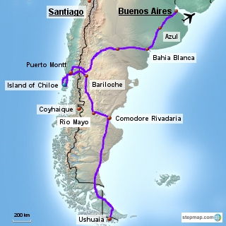 Trip Overview Peaks Pampas And Panniers - Argentina map bahia blanca