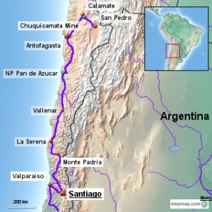 Our route in northern Chile