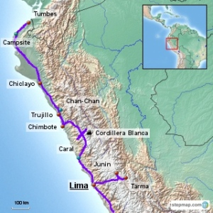 Our Route in northern Peru