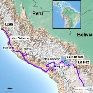 Our Route in southern Peru