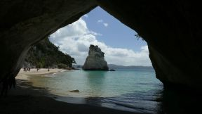 The Cathedral Cove is a natural tunnel at one of the nice beaches there.