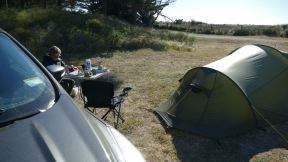 Our fantastic little free campsite at the seaside