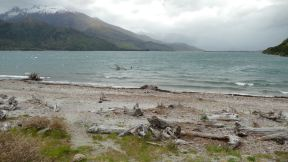 stormy weather on the shore of Lake Wanaka.