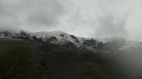 It was cold and it had rained a lot. So the mountains were all covered in snow.