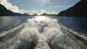 The next day: Crossig Lake Manapouri to get to Doubtful Sound.